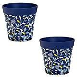 New Creative Blue Birds and Branches 10-inch Outdoor Safe Hum Flower Pot, Set of 2