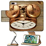 MSD Premium Apple iPhone 7 Plus Flip Pu Leather Wallet Case old fashioned vintage copper clock on wooden background IMAGE 25654216
