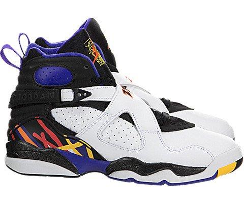 Jordan Air 8 Retro Threepeat BG Big Kids' Shoes White/Infrared-Black-Bright Concord 305368-142 (7 M US)