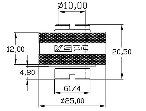 """XSPC G1/4"""" to 1/2"""" ID, 3/4"""" OD Compression Fitting V2 for Soft Tubing, Matte Black"""