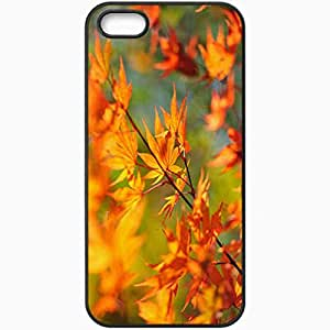 Unique Design Fashion Protective Back Cover For iPhone 5 5S Case Autumn Maple Leaves Nature Black