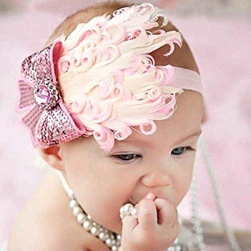 1 Pc Pink- Belle Plume tête d'usure Bandeau pour bébé nouveau-né Toddler Girls