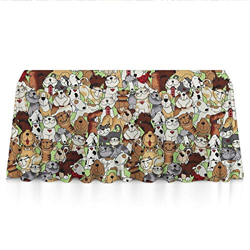 GLORY ART Rectangle Tablecloth - Love Dogs Cats - 52x70 inch Washable Spill Proof Table Overlay/Cover Tapestry Perfect for Buffet Table,Patio,Dinner,Picnic,Indoor,Outdoor