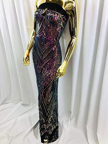 - Royalty Iridescent Sequins Fabrics (Geometric) - 4 Way Stretch Sequin On A Mesh for Dresses-Nightgown-Prom-Fashion (5 Yards, Iridescent Rainbow ON Black MESH)