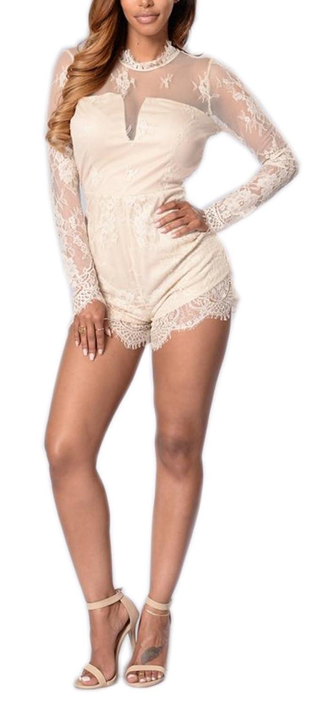 Women Mock Neck Long Sleeve Mesh Lace Backless Clubwear Bodycon Short Jumpsuit Rompers