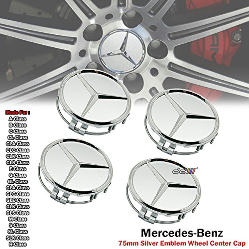 4 x Mercedes Benz Silver Emblem Logo Badge Hub Wheel Rim Center Cap 75mm Set of 4 For A B C CL CLA CLC CLK CLS E G GL GLS GLA GLC GLE GLK M S SL SLK R Class - Mercedes Benz 4 X 4