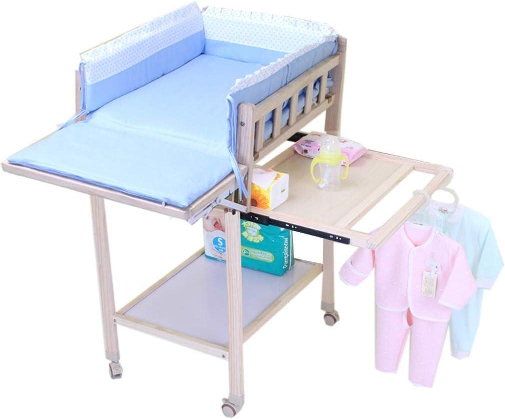 JALAL Cambiador móvil para bebés con Ruedas, Organizador de bañera de Madera con Almacenamiento, encimera Grande, fácil Montaje, 105 cm
