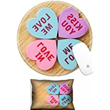 Luxlady Mouse Wrist Rest and Round Mousepad Set, 2pc Wrist Support Love message written on Clovers IMAGE: 25525277