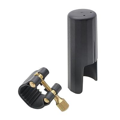 accessoires de saxophone Alto - TOOGOO(R) Ligature en cuir Attache avec Capuchon en plastique pour saxophone Alto bakelite Embouchure Durable