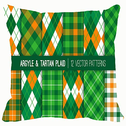 (DWone Hat Irish Green Orange White Argyle Tartan Backgrounds Textures Argyle Backgrounds Textures Holidays Argyle Holidays Decorative Pillow Case Home Decor Pillowcase (18x18 Inches) Colourful )