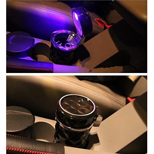 SOEKAVIA Cendrier portable /à LED avec couvercle Motif en losanges Avec support pour voiture