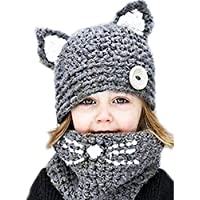 Baby Girls Boys Winter Hat Scarf Earflap Hood Scarves Caps (Grey(2-8 years...