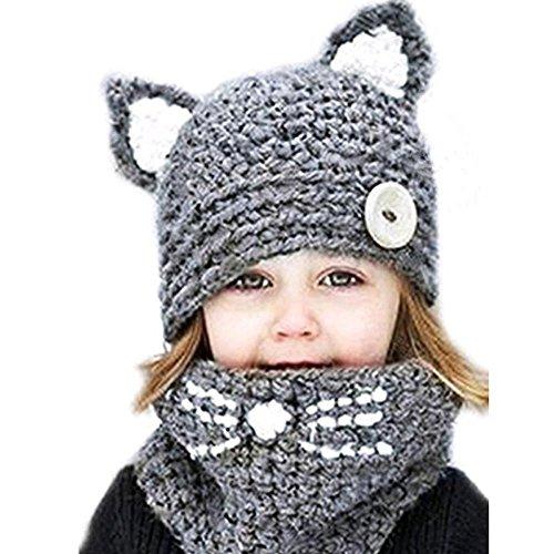 Kids Baby Girls Boys Winter Hat Scarf Earflap Hood Scarves Caps 6M-4T