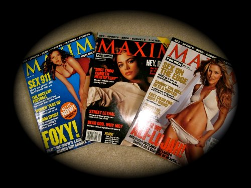 Three 2001 Issues MAXIM FOR MEN Magazine (April, 2001, February, 2001, January 2001)