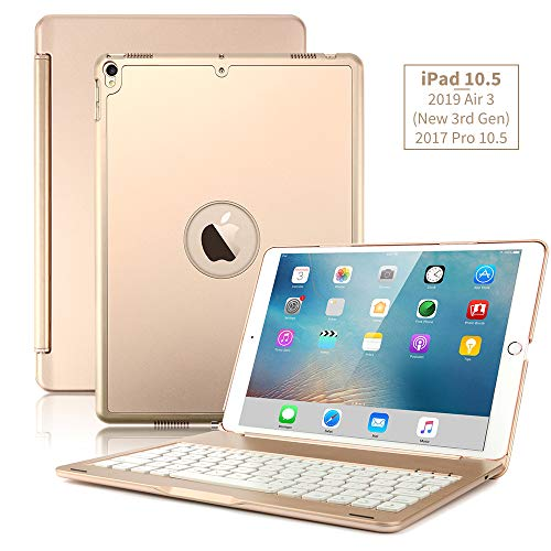 New iPad Air 2019(3rd Generation) 10.5/iPad Pro 10.5 2017 Keyboard Case,Boriyuan Protective Ultra Slim Hard Shell Folio Stand Smart Cover with 7 Colors Backlit Wireless Bluetooth Keyboard (Gold)