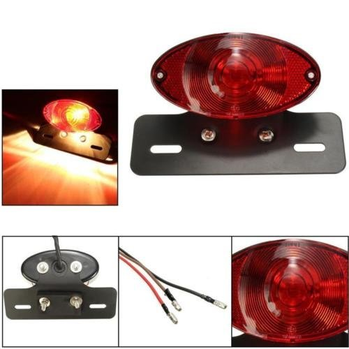 Motorcycle Cat Eye Stop Tail Light Bracket License Plate Lamp 5W Bulb E8 Marked