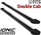 Ionic Gladiator Brite Running Boards 2014-2018 Chevy Silverado GMC Sierra Double Cab 1500 Gas Engine (with Mud Flaps)