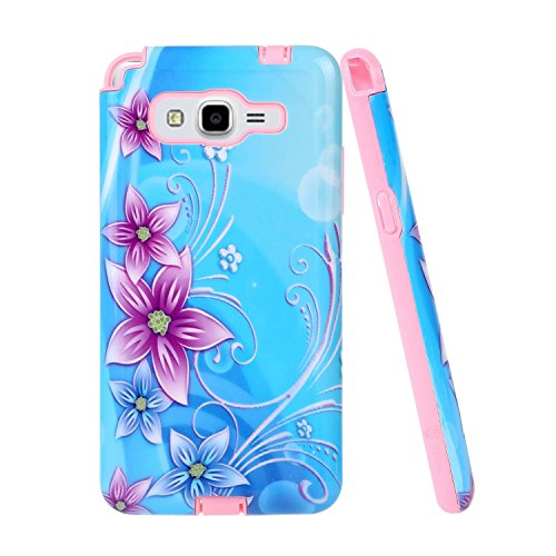 Galaxy Grand Prime Case, Style4U Flower Design Slim Fit Hybrid Armor Case for Samsung Galaxy Grand Prime G530 with 1 Style4U Stylus [Lily Flower Pink]