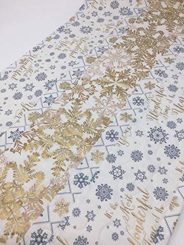Christmas Winter Table Runner Quilt, White, Gold, Grey, Snowflakes, Handmade