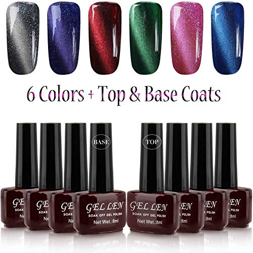New Polish - Gellen New Trend 3D Cat Eye Gel Nail Polish - Pack of 6 Colors with Top Coat Base Coat + Free Magnet Sticks