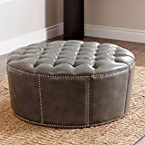 Leather Ottoman, Nailhead Trim, Round, Newport Grey For Sale