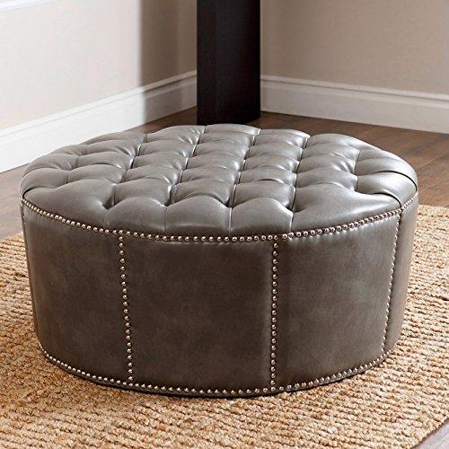 Abbyson Living Leather Ottoman, Nailhead Trim, Round, Newport Grey