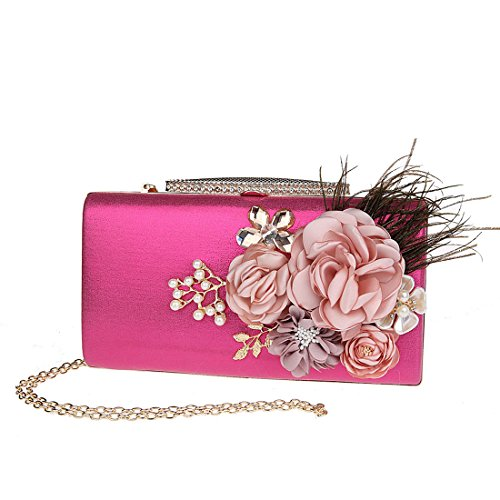 Floral Women's Bridal Wedding Fashion Bag Prom Clutch red KAXIDY Bag Party Satin Rose Evening qE8HWYdw