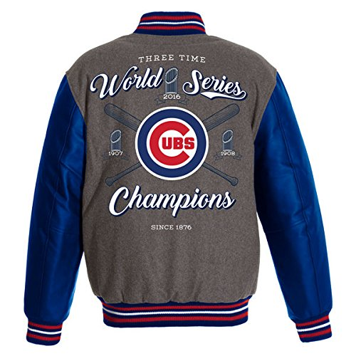 MLB Men's Chicago Cubs Champion Wool / PU Leather Sleeves Reversible Jacket (Medium)