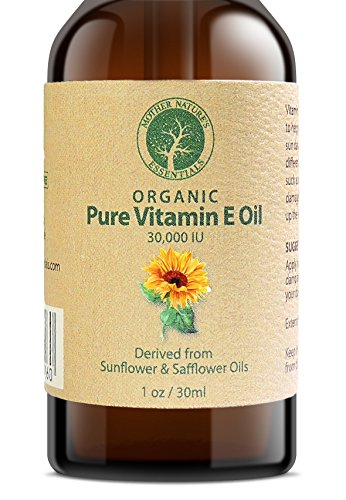 Vitamin E Oil PURE Organic d-alpha tocopherol 30,000 IU - 1 Ounce, Derived from non-GMO Sunflower/Safflower Oil, Soy-Free and Wheat-Free. (Oils Vitamins Essential)