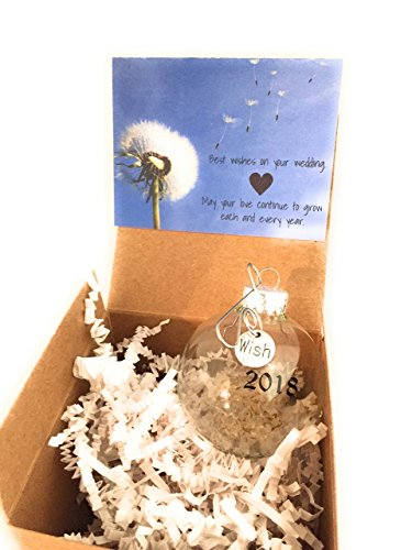 Seed Ornament - 2018 Wedding Gift | Dandelion Seeds Wishes Glass Globe Keepsake Ornament. Card and Gift Box included. Bridal Shower Newlyweds Brides and Grooms.