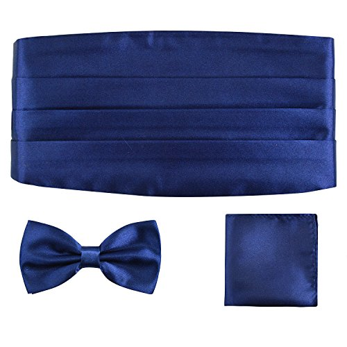 Multicolored Silk Solid Cummerbund for Mens Gift Bow Tie Set, - Cummerbund Navy