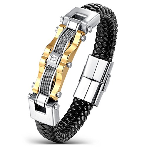 Areke Stainless Steel Braided Leather Bracelets for Men, Punk CZ Cuff Bracelet (Gents Gold Bracelet)