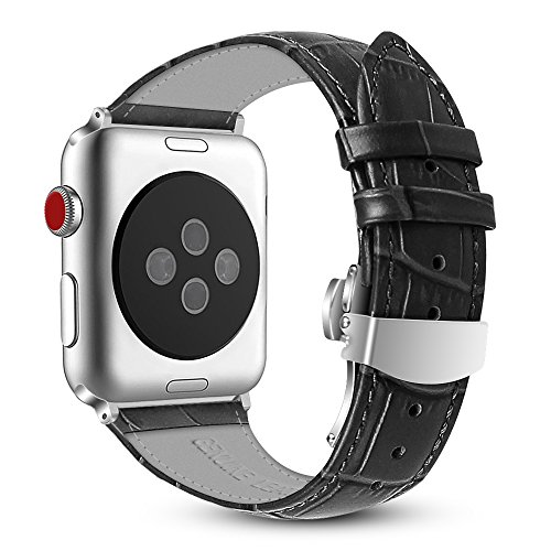 Price comparison product image Apple Watch Band 42mm, Fintie Genuine Leather Replacement Strap Wrist Bands with Butterfly Buckle for Apple Watch Series 3 Series 2 Series 1 42mm All Models (Sport and Edition) - Black