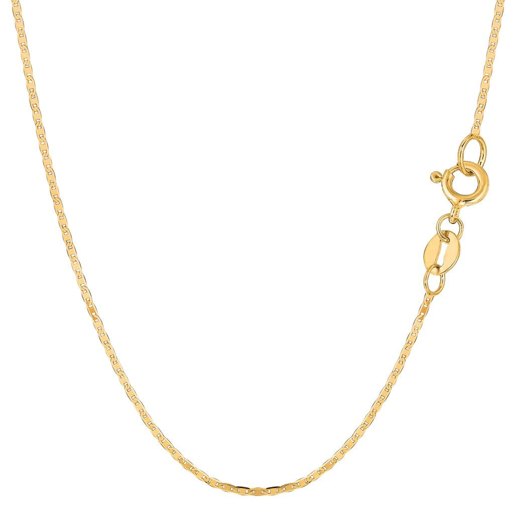 14K Yellow Gold 1.2mm Shiny Mariner-Link Chain Necklace for Pendants and Charms with Spring-Ring Clasp (16'', 18'' or 20 inch)