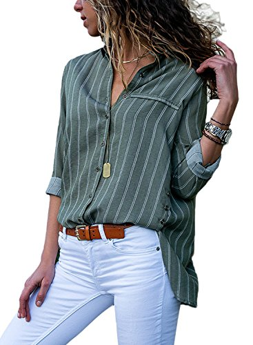 Stripe Button Front Shirt - HOTAPEI Womens Plus Size Casual V Neck Striped Button up Chiffon Shirts and Blouses Long Sleeve Pocket Work Tops Tunic Shirts Olive Green and White 2XL