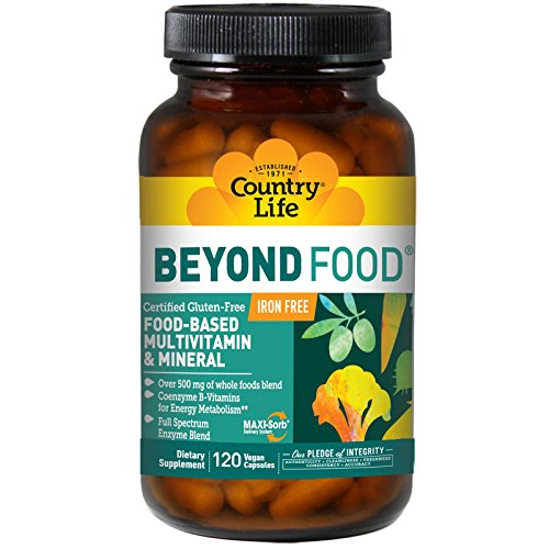 Country Life, Beyond Food, Multivitamin & Mineral, Iron Free, 120 Vegan Caps (Foods 120 Caps)