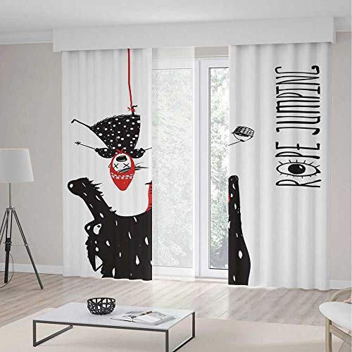 YOLIYANA Window Curtains Quirky Decor Scary Wolf Wants to Eat Little Girl Hanging Upside Down on Rope -