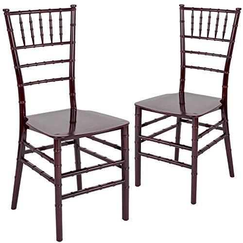 Flash Furniture 2 Pk. HERCULES Series Mahogany Resin Stacking Chiavari - Mahogany Resin