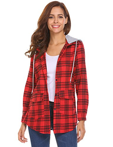Beyove Womens Casual Long Sleeve Boyfriend Plaid Button Down Tops Jacket Shirts with Detachable Hooded - Womens Flannel Top