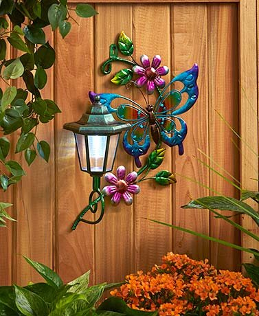 Solar Wall Lights (You Choose Dragonfly, Butterfly, or Hummingbird) (Butterfly with Purple Flowers) - Butterflies Outdoor Art