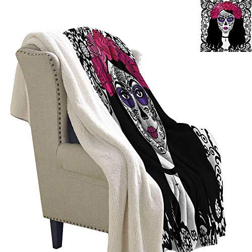 Sugar Skull Throw Blanket 60x78 Inch Girl with Sugar Skull Make Up Dia De Los Muertos Traditional Art Print All Season Blanket Black White Pink ()