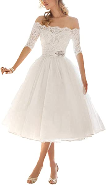 Tulle Short Wedding Dresses Lace Appliques Bridal Gowns Tea Length for Bride V-Neck Plus Size
