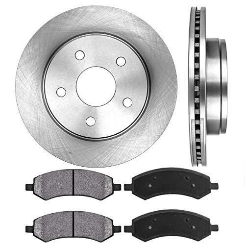 OE 5 Lug [2] Brake Disc Rotors + [4] Metallic Brake Pads ()