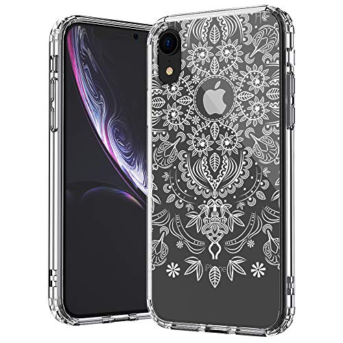 (MOSNOVO iPhone XR Case, Clear iPhone XR Case, White Henna Flower Mandala Lace Pattern Clear Design Transparent Plastic Hard Back Case with TPU Bumper Case Cover for Apple iPhone XR)