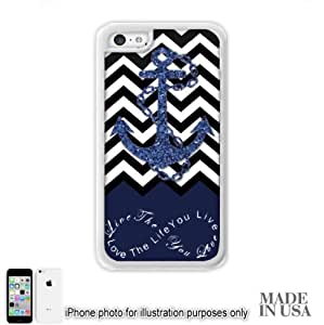 Anchor Live the Life You Love Infinity Quote (Not Actual Glitter) - Navy Black White Chevron with Anchor iPhone 5s for you Case - WHITE RUBBER by Unique Design Gifts