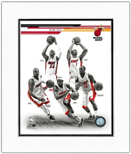 Ray Allen Matted Photo - Miami Heat 2013-2014 NBA Team Composite Photo 11x14 Matted