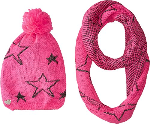 Betsey Johnson Women's Star Struck Two-Piece Set Infinity Beanie Neon Pink One Size - Betsey Johnson 2 Piece