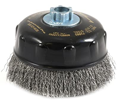 Forney 72860 Wire Cup Brush, Industrial Pro Coarse Crimped with 5/8-Inch-11 Threaded Arbor, 5-Inch-by-.012-Inch