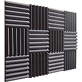 "Pro Studio Acoustics - 12""x12""x2"" Acoustic Wedge Foam Absorption Soundproofing Tiles - Charcoal - 12 Pack"