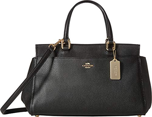 COACH Women's Polished Pebble Leather Fulton Satchel Li/Black One - Leather Black Pebble Coach